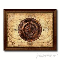 Breakwater Bay 'Compass Nautical Vintage Map' Framed Textual Art on Canvas BKWT4106