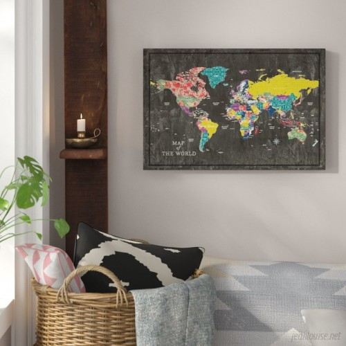 Bungalow Rose 'Colorful World Map' Graphic Art Print on Canvas BGRS3909