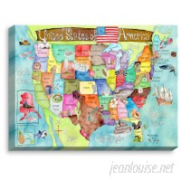 DiaNocheDesigns 'United States MAP' by Marley Ungaro Painting Print on Wrapped Canvas DNOC2000