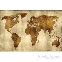 East Urban Home 'The World' Graphic Art Print on Canvas in Bronze on Gold ESUR3483