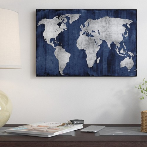 East Urban Home 'The World' Graphic Art Print on Canvas in Silver and Blue ESUR3486