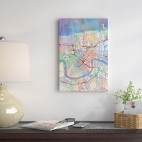 East Urban Home Urban Rainbow Street Map Series: New Orleans, Louisiana, USA Graphic Art on Wrapped Canvas USSC7065