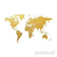 East Urban Home World Map Series: Gold Foil On White Graphic Art on Wrapped Canvas USSC6696