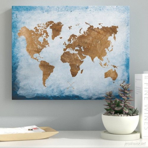 Ebern Designs 'Washy World Map' Oil Painting Print on Wrapped Canvas EBRD2304