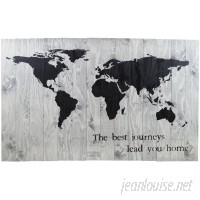 Ebern Designs 'World Map The Best Journeys Take You Home' Graphic Art Print on Wood FSHM1409