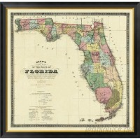 Global Gallery 'New Map of The State of Florida, 1870' by Columbus Drew Framed Graphic Art on Canvas VHY44032