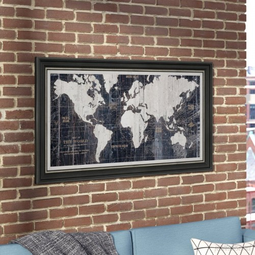 Mercury Row 'Old World Map Blue' Framed Graphic Art on Wrapped Canvas MCRW5265