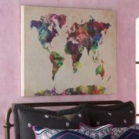 Mistana 'Urban Watercolor World Map' Framed on Beige Canvas MTNA2448