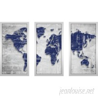 "PicturePerfectInternational ""Moody Blue World"" by BY Jodi 3 Piece Framed Painting Print Set FCAC3209"