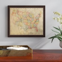 Three Posts 'Colored Map Of The United States' Framed Graphic Art Print on Canvas TRPT4916