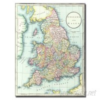 Trademark Art Map of England Wales 1852 by R.H. Laurie Graphic Art on Wrapped Canvas TMAR3999