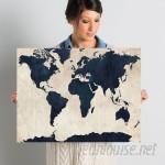 Trent Austin Design World Map - Navy Framed Graphic Art Print on Canvas TADN1556
