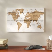 Union Rustic 'Distressed World Map' Graphic Art Print on Canvas UNRS5128