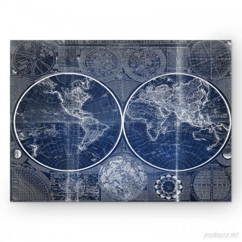 WexfordHome 'Vintage World Map II' Graphic Art Print on Wrapped Canvas in Blue WEXF2192
