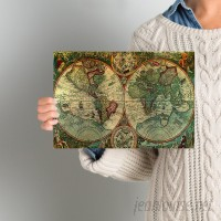 World Menagerie Treasure Map' Framed Graphic Art Print on Canvas WDMG1006