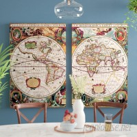 World Menagerie World Map 2 Piece Framed Graphic Art on Wrapped Canvas Set WDMG1007