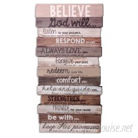 LighthouseChristianProducts Believe Stacked Wood Word Study Wall Décor LHCP1114