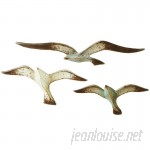 Beachcrest Home 3 Piece Distressed Flying Seagull Wall Décor Set BCHH2251