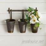 Laurel Foundry Modern Farmhouse Farm Metal Wall Rack and 3 Tin Pot with Hanger Wall Decor LFMF4493