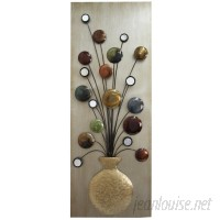 Three Posts Faux Vase and Flower Metal Wall Décor THPS4423
