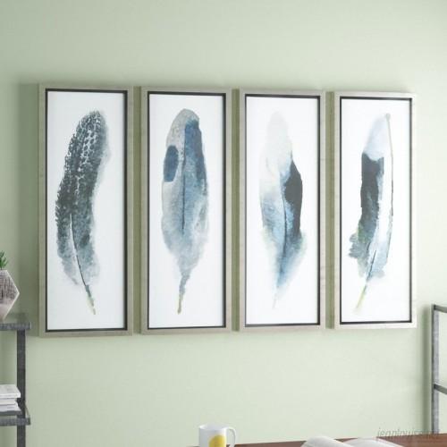 Brayden Studio Feathered Beauty Prints 4 Piece Framed Graphic Art Set BRSD4247