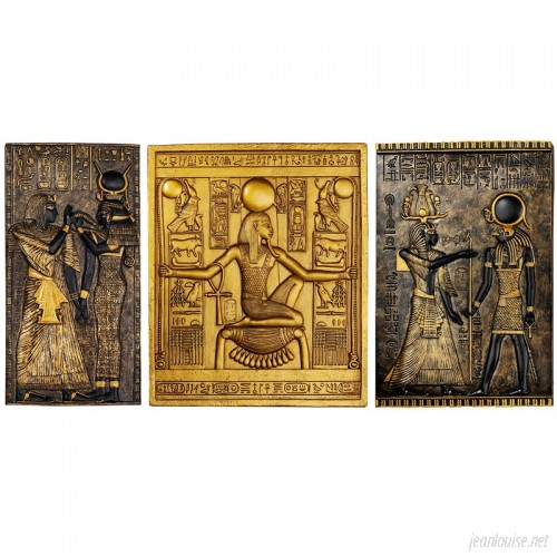 Design Toscano 3 Piece Egyptian Temple Stele Tutankhamen, Isis and Horus Wall Décor Set TXG1103