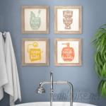 Ivy Bronx 'Floss, Flush, Wipe, Wash' Framed Graphic Art Print Set on Wood IVYB8392