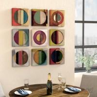 Latitude Run 'Textured Circles Green and Red' 9 Piece Canvas Wall Art Set LTDR8356