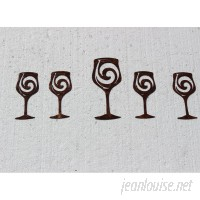Say It All On The Wall 5 Piece Wine Glasses Metal Wall Décor Set SATW1019