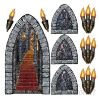 The Holiday Aisle 9 Piece Halloween Stairway Window and Torch Prop Set THLA7378