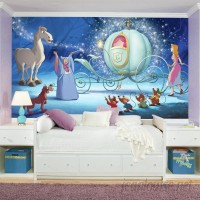 Room Mates Disney Princess Cinderella Carriage Chair Rail Prepasted Wall Mural RZM3054