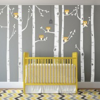 SimpleShapes Birch Tree with Owl Wall Decal SSHA1007