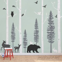 SimpleShapes Birch Trees with Animals Wall Mural SSHA1162