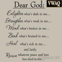 VWAQ Dear God Enlighten What's Dark in Me Wall Decal VWAQ1213