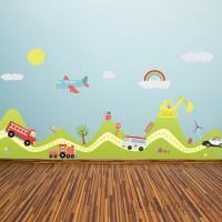 Walplus Happy Hills and Happy Cars Wall Decal WLPU1197