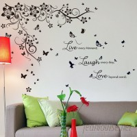 Walplus New Huge Butterfly Vine and Live Laugh Love Wall Decal WLPU1157