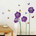 Walplus Purple Flower Butterfly Wall Decal WLPU1075