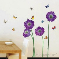 Walplus Purple Flower Butterfly Wall Decal WLPU1075