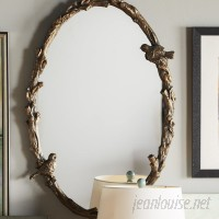 One Allium Way Eliana Oval Mirror in Antique Gold Leaf OAWY2974