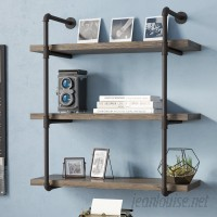 17 Stories Simonne 3 Tier Industrial Pipe Wall Shelf STSS4073
