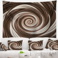 East Urban Home Abstract Chocolate and Milk Candy Spiral Design Tapestry ERBP3952