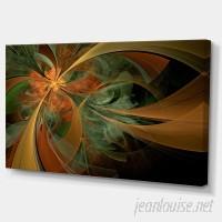 DesignArt Symmetrical Orange Digital Fractal Flower Graphic Art on Wrapped Canvas ESIG7340