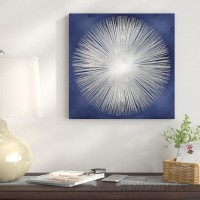 East Urban Home Silver Sunburst on Blue I Graphic Art on Wrapped Canvas USSC7846