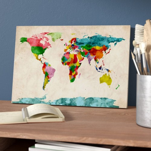 iCanvas 'World Map Watercolors III' Graphic Art Print ESRB6992