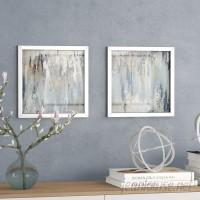 Ivy Bronx 'Blue Illusion Square I' 2 Piece Framed Acrylic Painting Print Set IVBX2321