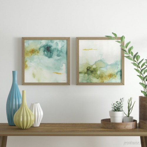 Ivy Bronx 'My Greenhouse Abstract IV' 2 Piece Framed Watercolor Painting Print Set IVBX5885