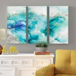 Ivy Bronx 'Teal Marble' Acrylic Painting Print Multi-Piece Image on Wrapped Canvas IVBX2803