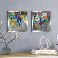 Latitude Run 'Burst of Magic' 2 Piece Framed Acrylic Painting Print Set LTTN3521