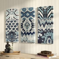 Mistana 'Flourish Ikat' 3 Pieces Painting Print on Canvas Set MTNA2362
