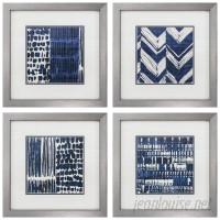 Propac Images Indigo Batik Framed Graphic Art Set PPI4118
